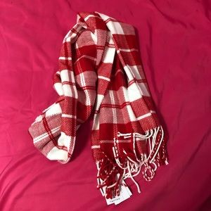 Red and White Plaid Scarf